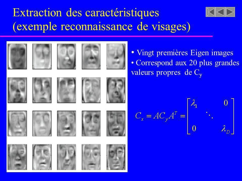 Extraction des caractéristiques (exemple reconnaissance de visages) Vingt premières Eigen images Correspond aux 20 plus grandes valeurs propres de C y
