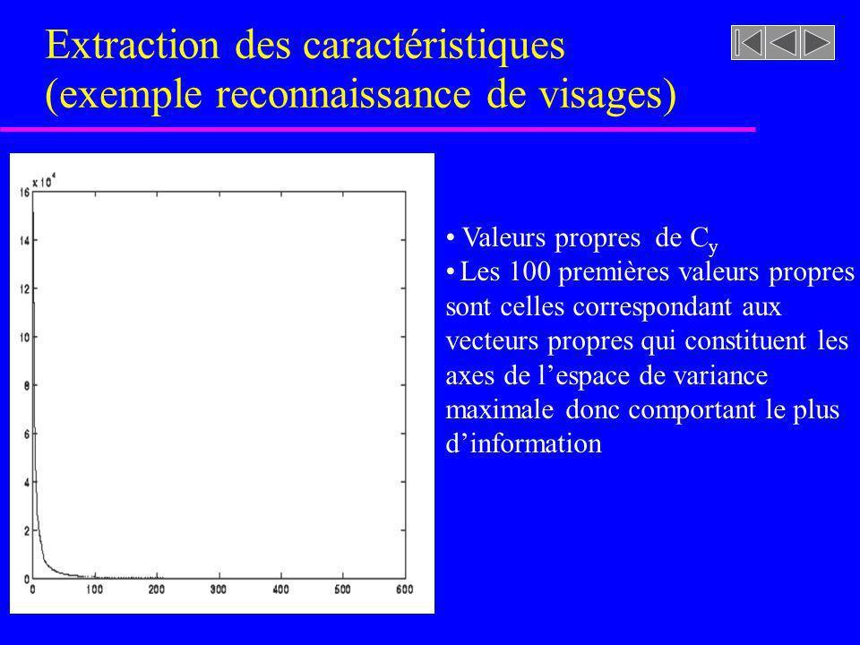 Extraction des caractéristiques (exemple reconnaissance de visages) Valeurs propres de C y Les 100 premières valeurs propres sont celles correspondant
