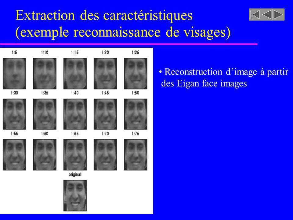 Extraction des caractéristiques (exemple reconnaissance de visages) Reconstruction dimage à partir des Eigan face images
