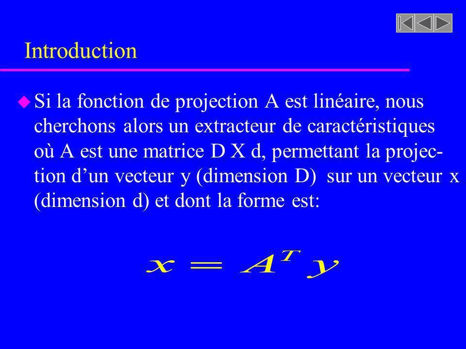 Extraction des caractéristiques u Analyse en composante principale –Ce type de méthode est aussi appelée Transformée discrète de Karhunen-Loève Transformée de Hotelling Transformée en vecteurs propres –Cette méthode permet de déduire une transforma- tion linéaire permettant déliminer la corrélation entre les composantes dun vecteur de variables aléatoires