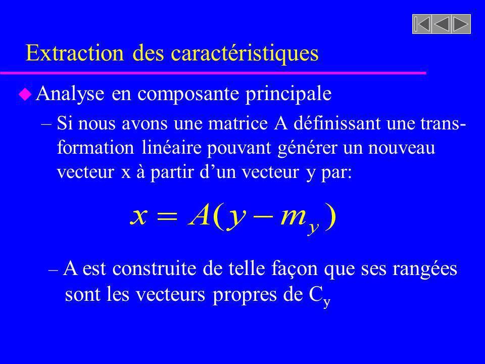 Extraction des caractéristiques u Analyse en composante principale –Le vecteur x est aléatoire de moyenne 0 (m x = 0) –La matrice de covariance de x découle de: Le vecteur x est donc composé de variables aléatoires non corrélées – La transformation A élimine donc la corrélation entre les composantes du vecteur y k est la variance de x k