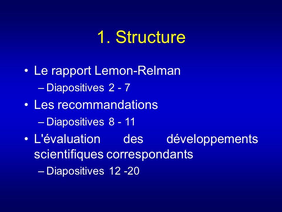 1. Structure Le rapport Lemon-Relman –Diapositives 2 - 7 Les recommandations –Diapositives 8 - 11 L'évaluation des développements scientifiques corres