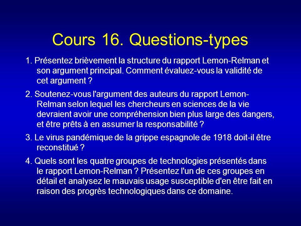Cours 16. Questions-types 1. Présentez brièvement la structure du rapport Lemon-Relman et son argument principal. Comment évaluez-vous la validité de