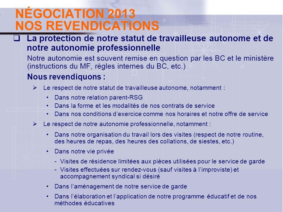 NÉGOCIATION 2013 NOS REVENDICATIONS La protection de notre statut de travailleuse autonome et de notre autonomie professionnelle Notre autonomie est s
