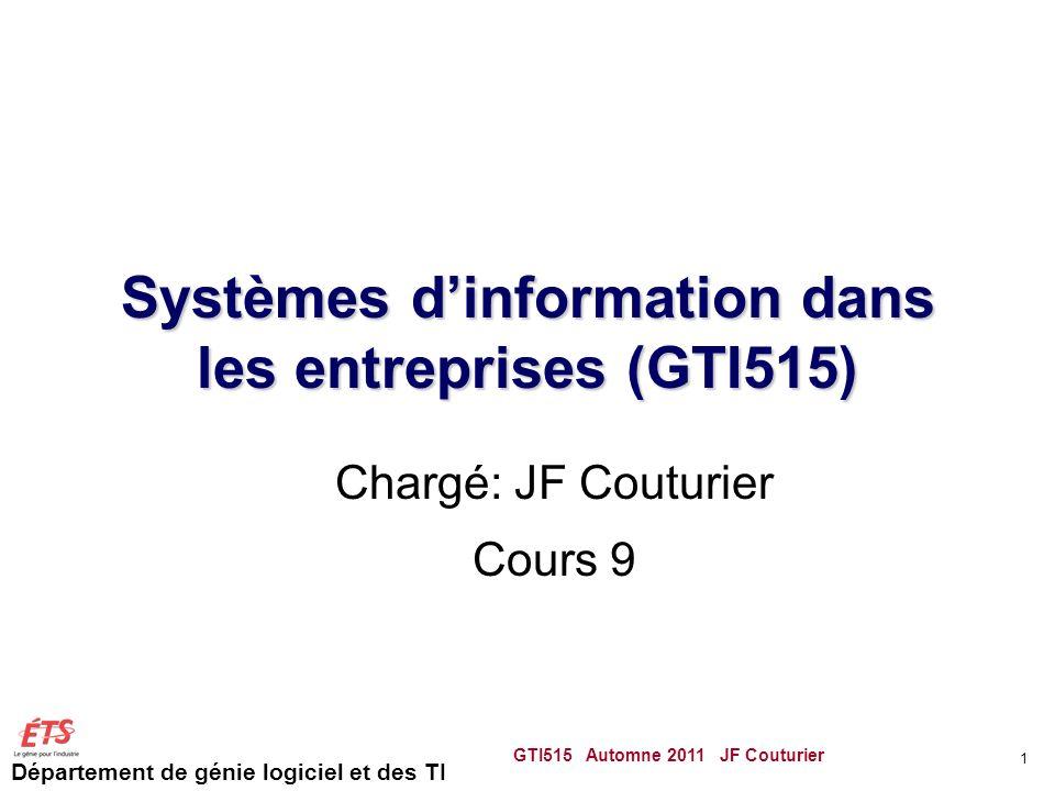 Département de génie logiciel et des TI Systèmes dinformation dans les entreprises (GTI515) Chargé: JF Couturier Cours 9 GTI515 Automne 2011 JF Coutur