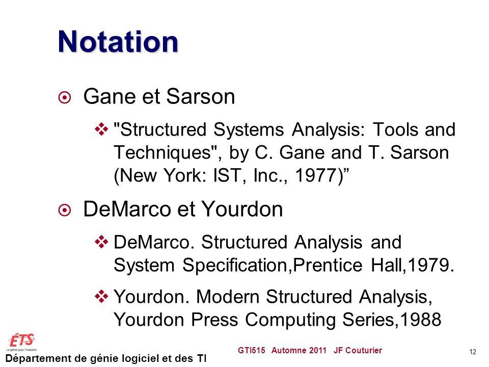 Département de génie logiciel et des TI Notation Gane et Sarson