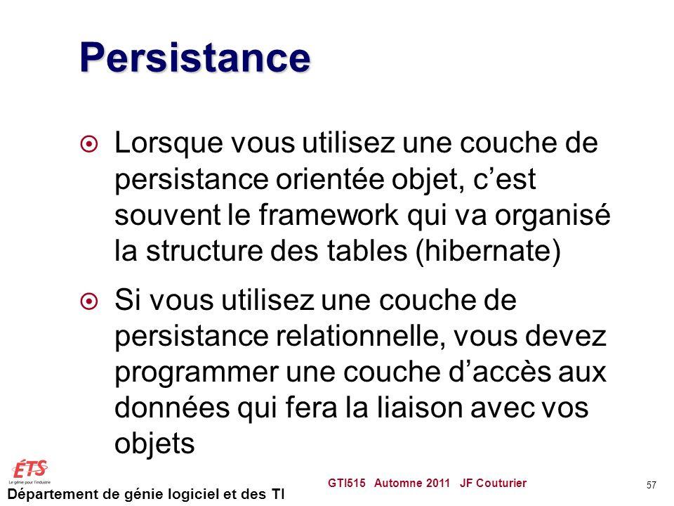 Département de génie logiciel et des TI Persistance Lorsque vous utilisez une couche de persistance orientée objet, cest souvent le framework qui va o