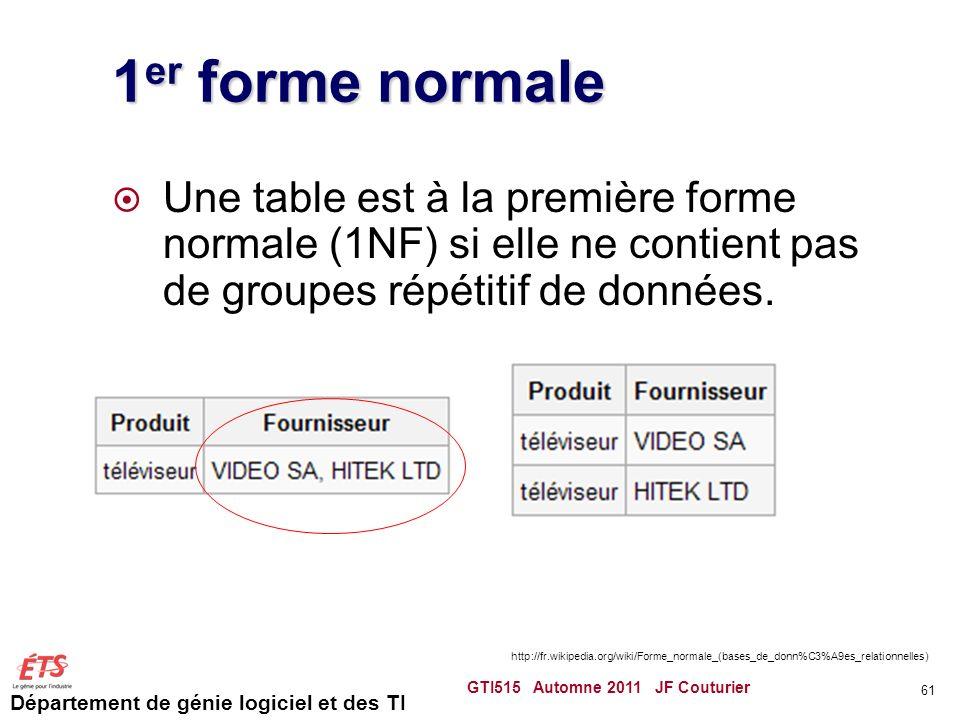 Département de génie logiciel et des TI 1 er forme normale Une table est à la première forme normale (1NF) si elle ne contient pas de groupes répétiti