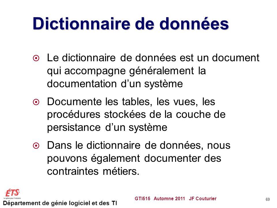 Département de génie logiciel et des TI Dictionnaire de données Le dictionnaire de données est un document qui accompagne généralement la documentatio
