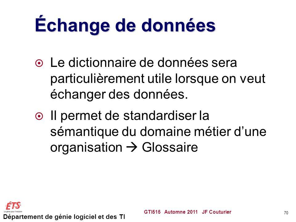 Département de génie logiciel et des TI Échange de données Le dictionnaire de données sera particulièrement utile lorsque on veut échanger des données