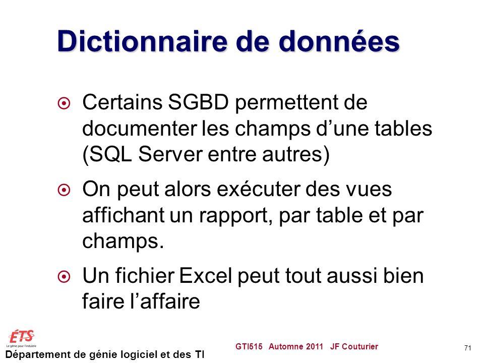 Département de génie logiciel et des TI Dictionnaire de données Certains SGBD permettent de documenter les champs dune tables (SQL Server entre autres