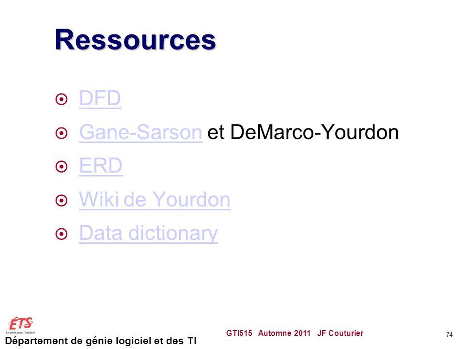 Département de génie logiciel et des TI Ressources DFD Gane-Sarson et DeMarco-Yourdon Gane-Sarson ERD Wiki de Yourdon Data dictionary GTI515 Automne 2