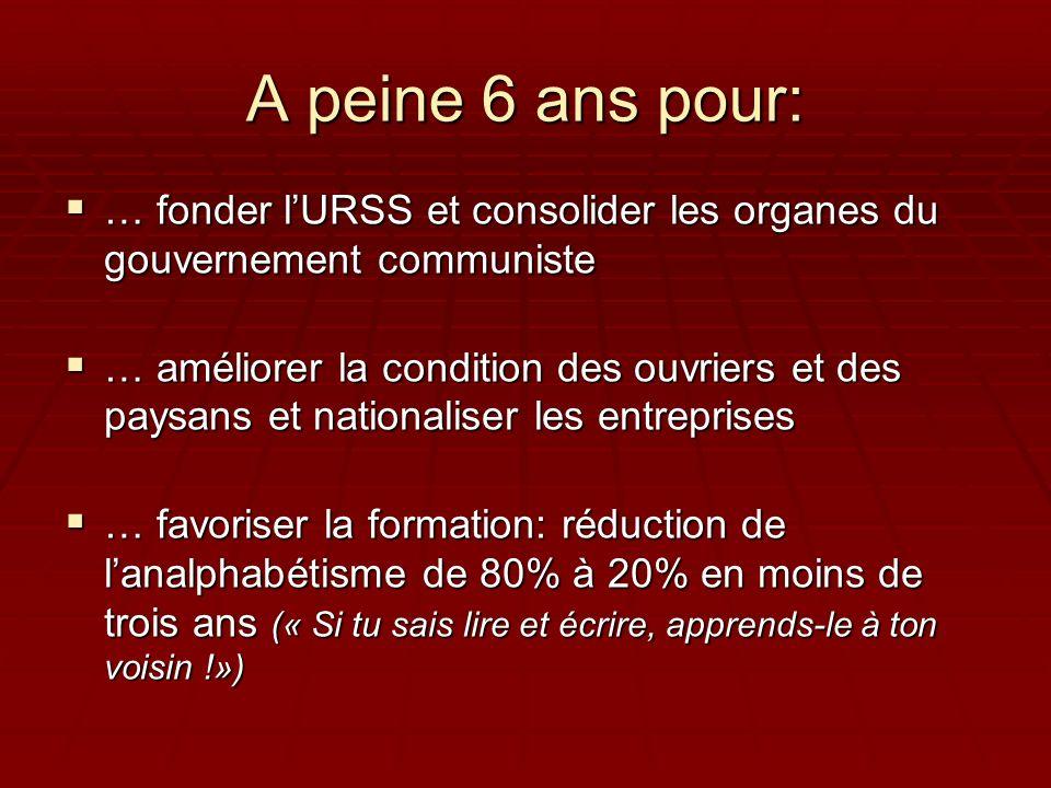 A peine 6 ans pour: … fonder lURSS et consolider les organes du gouvernement communiste … fonder lURSS et consolider les organes du gouvernement commu