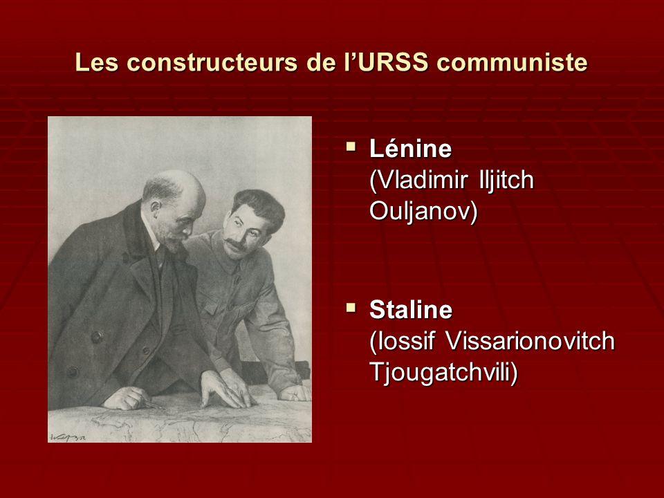 Les constructeurs de lURSS communiste Lénine (Vladimir Iljitch Ouljanov) Lénine (Vladimir Iljitch Ouljanov) Staline (Iossif Vissarionovitch Tjougatchv