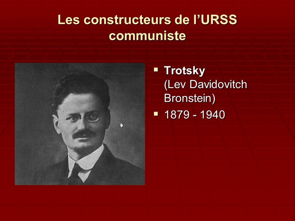 Les constructeurs de lURSS communiste Trotsky (Lev Davidovitch Bronstein) Trotsky (Lev Davidovitch Bronstein) 1879 - 1940 1879 - 1940