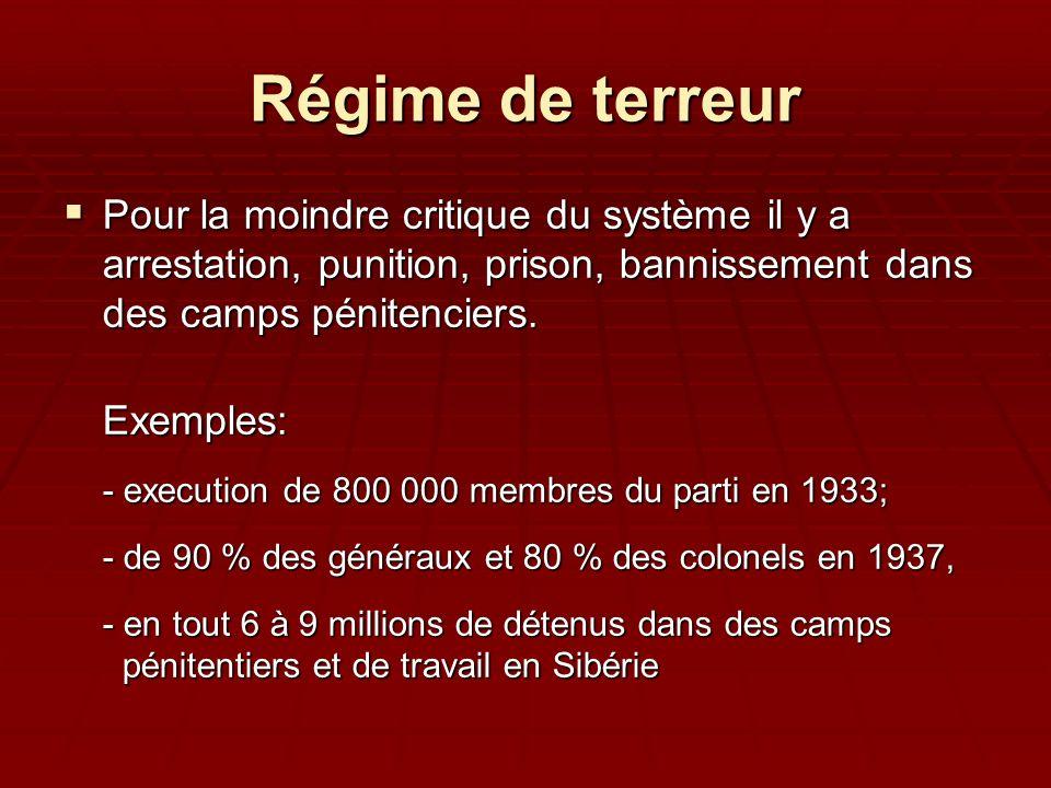 Régime de terreur Pour la moindre critique du système il y a arrestation, punition, prison, bannissement dans des camps pénitenciers. Pour la moindre