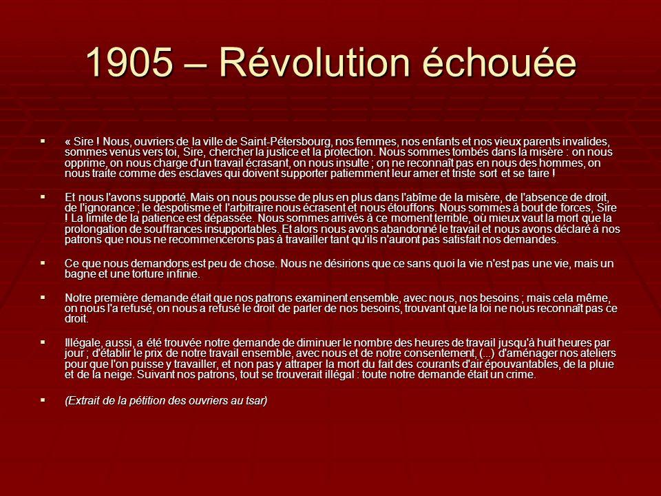 1905 – Révolution échouée « Sire ! Nous, ouvriers de la ville de Saint-Pétersbourg, nos femmes, nos enfants et nos vieux parents invalides, sommes ven
