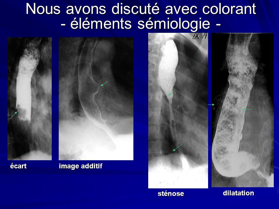 Nous avons discuté avec colorant - éléments sémiologie - écart image additif sténose dilatation