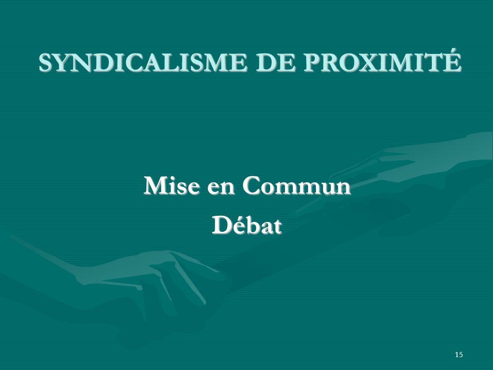 15 SYNDICALISME DE PROXIMITÉ SYNDICALISME DE PROXIMITÉ Mise en Commun Débat