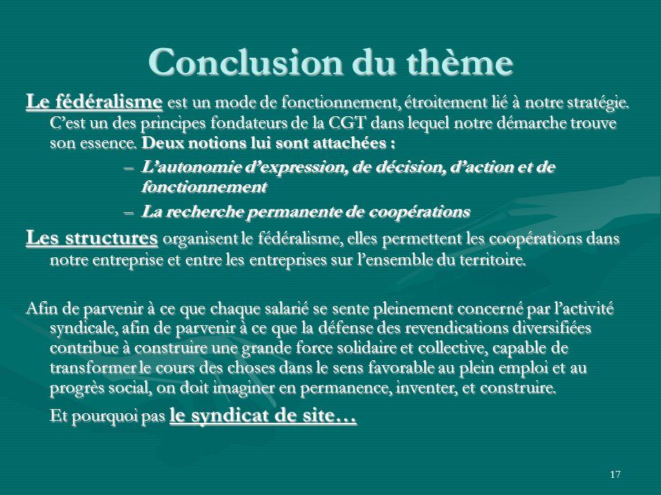 17 Conclusion du thème Le fédéralisme est un mode de fonctionnement, étroitement lié à notre stratégie. Cest un des principes fondateurs de la CGT dan