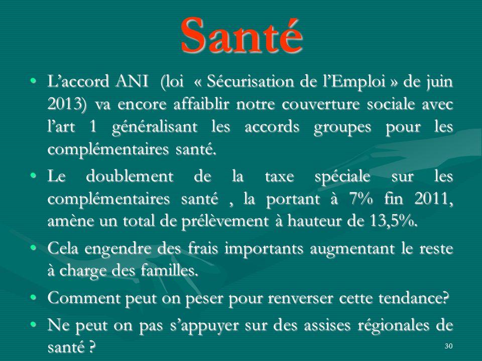 30 Laccord ANI (loi « Sécurisation de lEmploi » de juin 2013) va encore affaiblir notre couverture sociale avec lart 1 généralisant les accords groupe