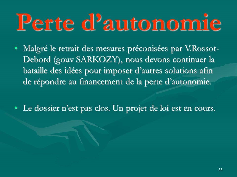 33 Malgré le retrait des mesures préconisées par V.Rossot- Debord (gouv SARKOZY), nous devons continuer la bataille des idées pour imposer dautres sol
