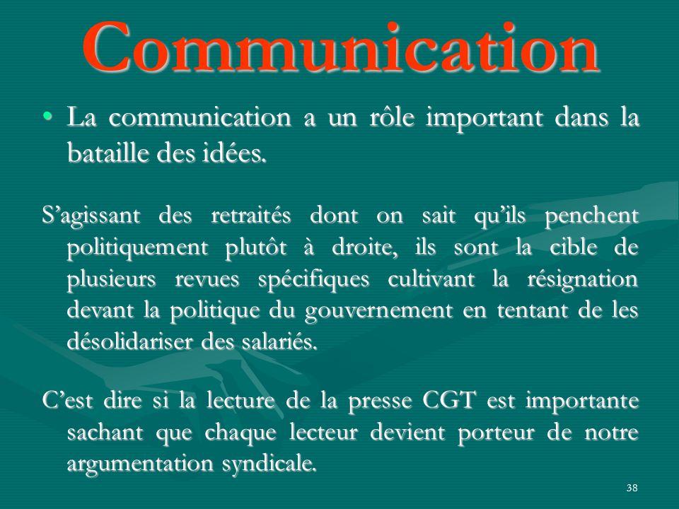 38 La communication a un rôle important dans la bataille des idées.La communication a un rôle important dans la bataille des idées. Sagissant des retr