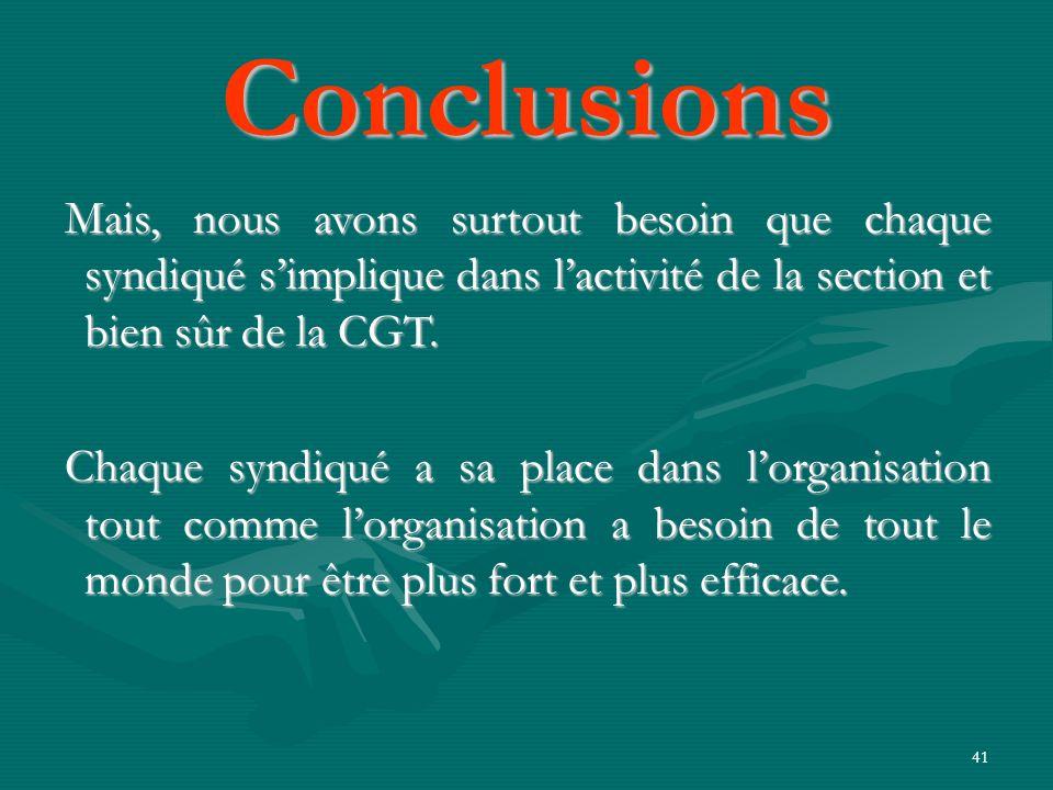 41 Mais, nous avons surtout besoin que chaque syndiqué simplique dans lactivité de la section et bien sûr de la CGT.