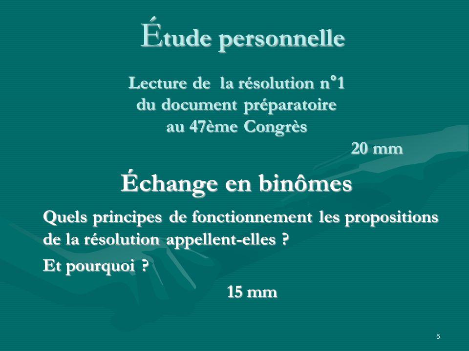 5 É tude personnelle Échange en binômes Quels principes de fonctionnement les propositions de la résolution appellent-elles ? Et pourquoi ? 15 mm 15 m