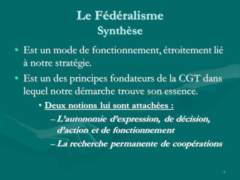 7 Le Fédéralisme Synthèse Est un mode de fonctionnement, étroitement lié à notre stratégie.Est un mode de fonctionnement, étroitement lié à notre stra