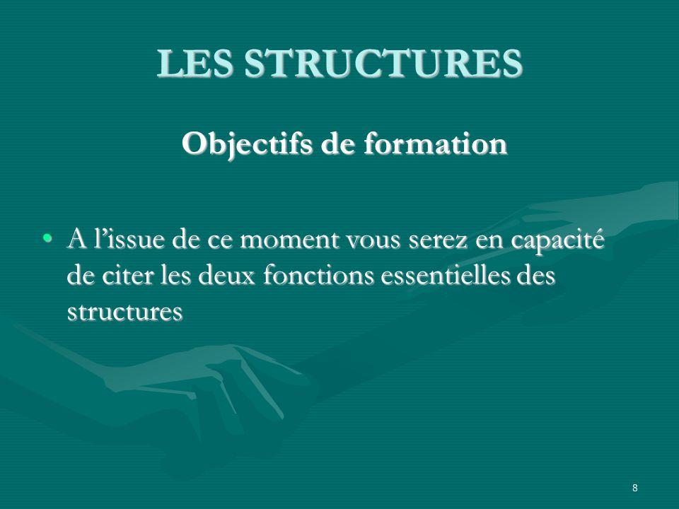 8 LES STRUCTURES Objectifs de formation Objectifs de formation A lissue de ce moment vous serez en capacité de citer les deux fonctions essentielles des structuresA lissue de ce moment vous serez en capacité de citer les deux fonctions essentielles des structures