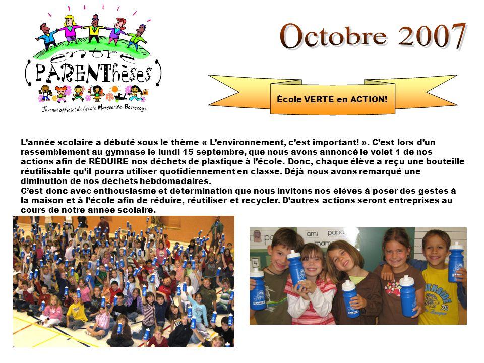 École VERTE en ACTION! Lannée scolaire a débuté sous le thème « Lenvironnement, cest important! ». Cest lors dun rassemblement au gymnase le lundi 15