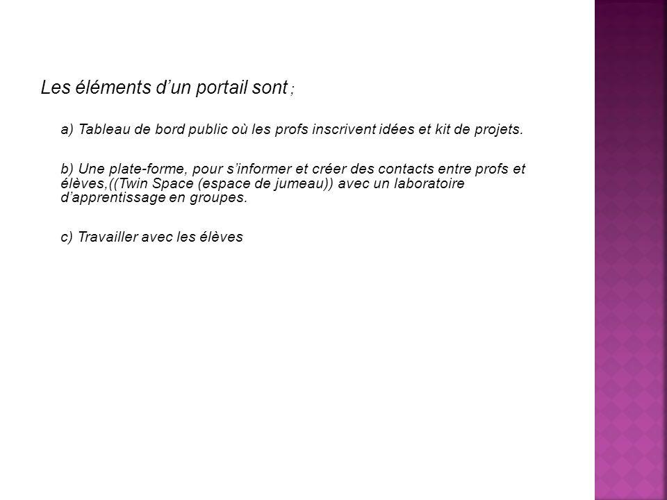 Les éléments dun portail sont ; a) Tableau de bord public où les profs inscrivent idées et kit de projets.