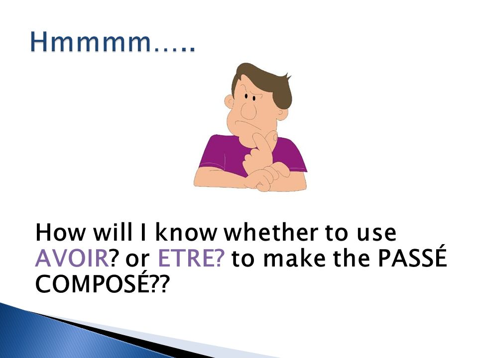 How will I know whether to use AVOIR or ETRE to make the PASSÉ COMPOSÉ