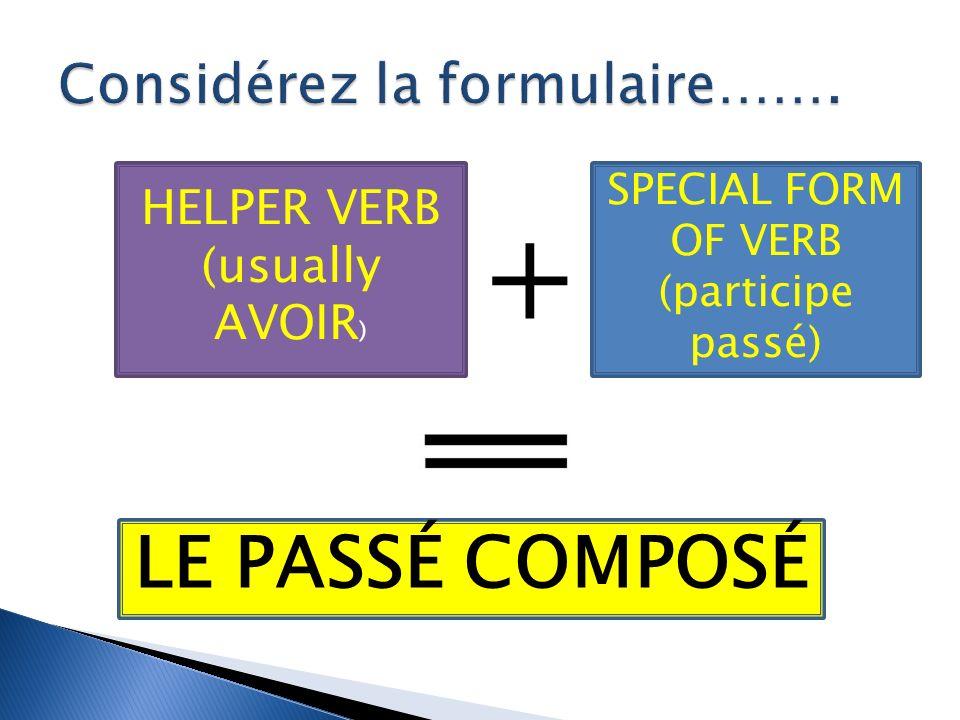 + HELPER VERB (usually AVOIR ) SPECIAL FORM OF VERB (participe passé) LE PASSÉ COMPOSÉ