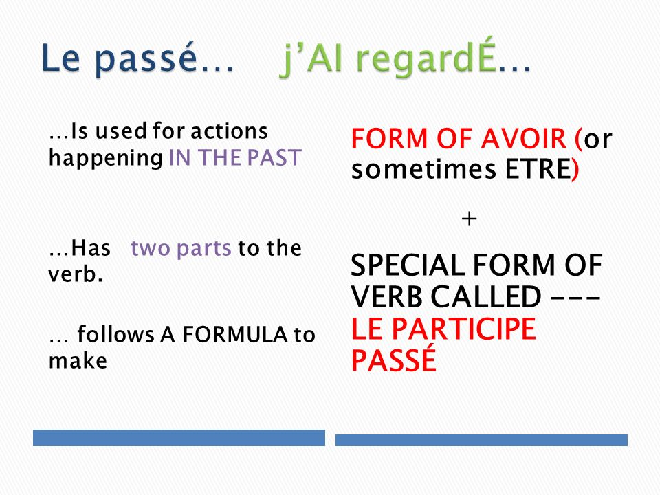 …Is used for actions happening IN THE PAST …Has two parts to the verb. … follows A FORMULA to make FORM OF AVOIR (or sometimes ETRE) + SPECIAL FORM OF