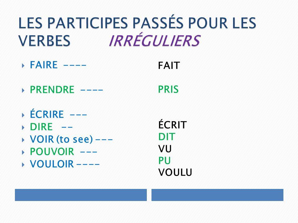 FAIRE ---- PRENDRE ---- ÉCRIRE --- DIRE -- VOIR (to see) --- POUVOIR --- VOULOIR ---- FAIT PRIS ÉCRIT DIT VU PU VOULU
