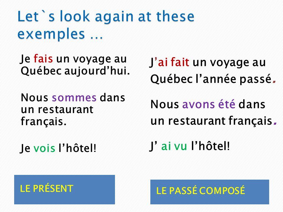 LE PRÉSENT LE PASSÉ COMPOSÉ Je fais un voyage au Québec aujourdhui.