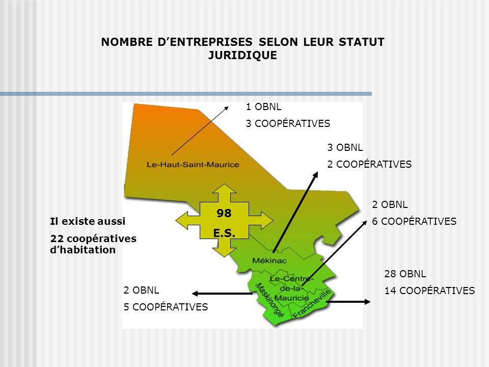 NOMBRE DENTREPRISES SELON LEUR STATUT JURIDIQUE 28 OBNL 14 COOPÉRATIVES 2 OBNL 6 COOPÉRATIVES 3 OBNL 2 COOPÉRATIVES 2 OBNL 5 COOPÉRATIVES 1 OBNL 3 COOPÉRATIVES Il existe aussi 22 coopératives dhabitation 98 E.S.