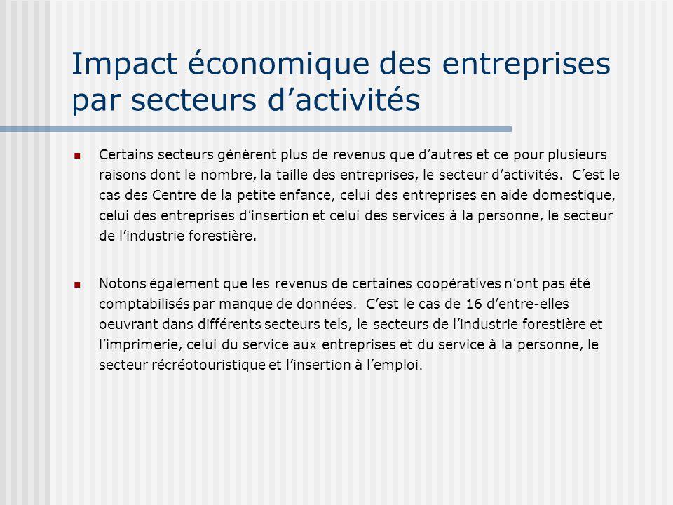 Impact économique des entreprises par secteurs dactivités Certains secteurs génèrent plus de revenus que dautres et ce pour plusieurs raisons dont le nombre, la taille des entreprises, le secteur dactivités.