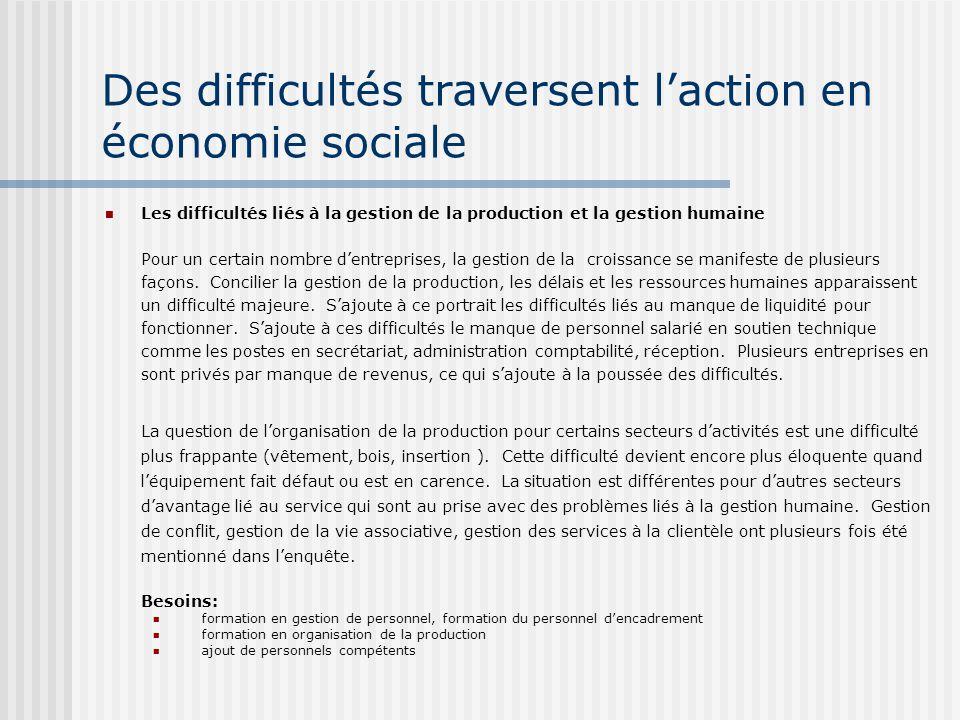 Des difficultés traversent laction en économie sociale Les difficultés liés à la gestion de la production et la gestion humaine Pour un certain nombre dentreprises, la gestion de la croissance se manifeste de plusieurs façons.