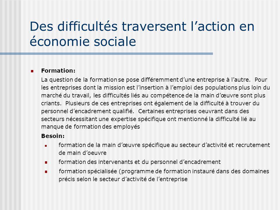 Des difficultés traversent laction en économie sociale Formation: La question de la formation se pose différemment dune entreprise à lautre.