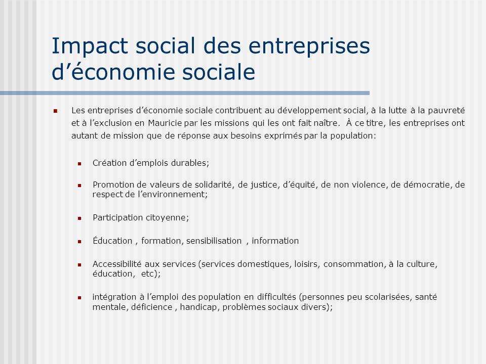 Impact social des entreprises déconomie sociale Les entreprises déconomie sociale contribuent au développement social, à la lutte à la pauvreté et à lexclusion en Mauricie par les missions qui les ont fait naître.