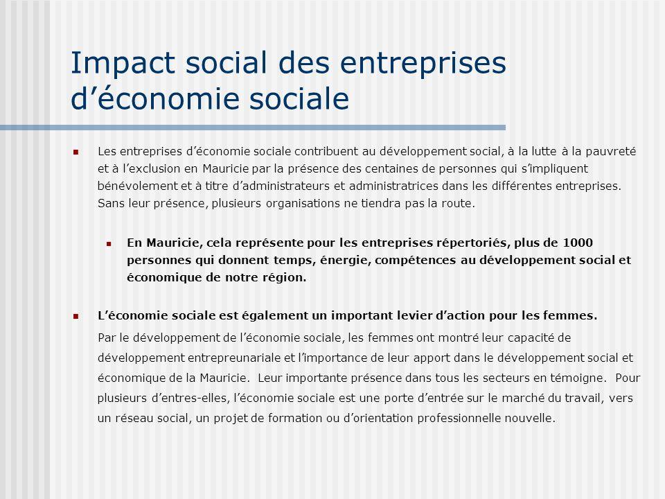 Impact social des entreprises déconomie sociale Les entreprises déconomie sociale contribuent au développement social, à la lutte à la pauvreté et à lexclusion en Mauricie par la présence des centaines de personnes qui simpliquent bénévolement et à titre dadministrateurs et administratrices dans les différentes entreprises.