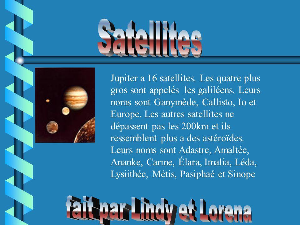 Jupiter a 16 satellites. Les quatre plus gros sont appelés les galiléens. Leurs noms sont Ganymède, Callisto, Io et Europe. Les autres satellites ne d