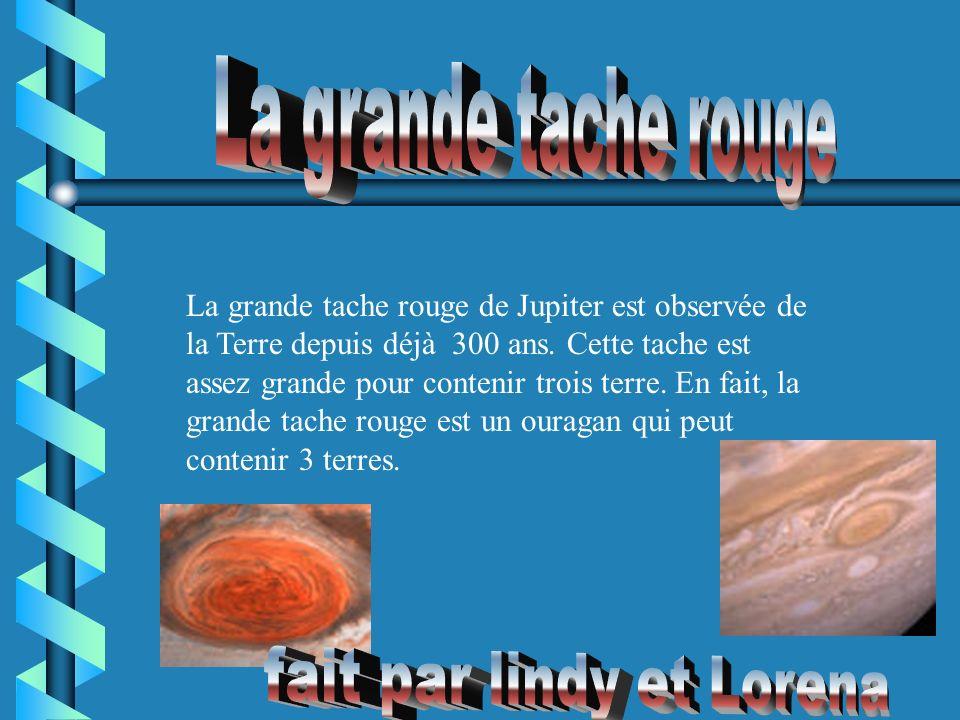 La grande tache rouge de Jupiter est observée de la Terre depuis déjà 300 ans. Cette tache est assez grande pour contenir trois terre. En fait, la gra