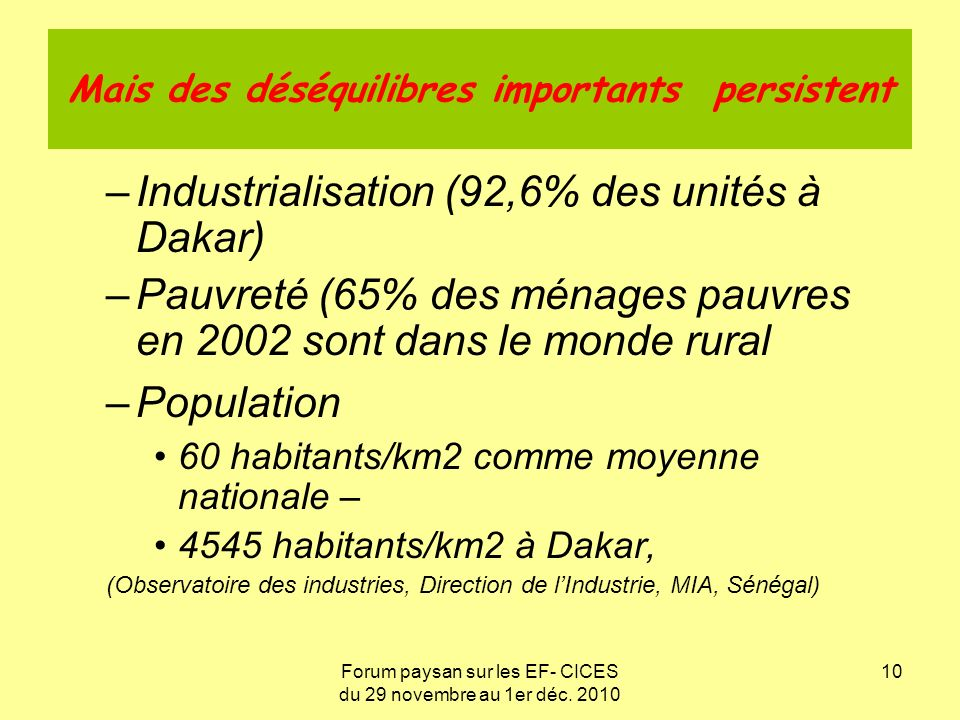 Forum paysan sur les EF- CICES du 29 novembre au 1er déc. 2010 10 –Industrialisation (92,6% des unités à Dakar) –Pauvreté (65% des ménages pauvres en