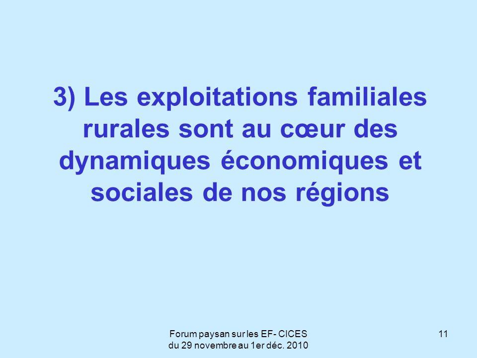 Forum paysan sur les EF- CICES du 29 novembre au 1er déc. 2010 11 3) Les exploitations familiales rurales sont au cœur des dynamiques économiques et s