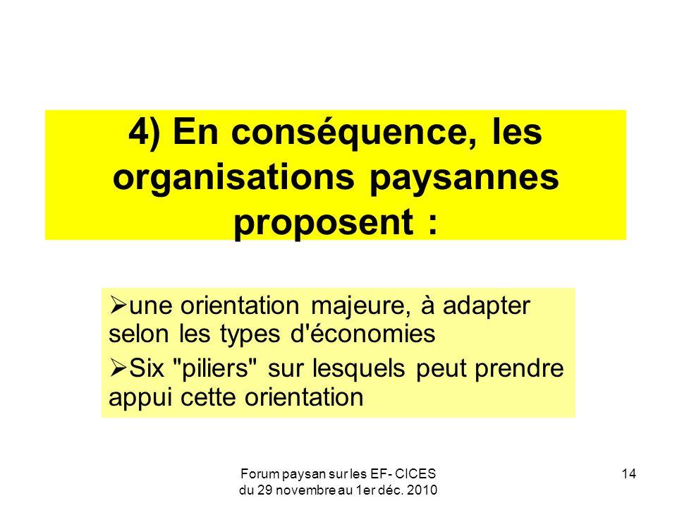 Forum paysan sur les EF- CICES du 29 novembre au 1er déc. 2010 14 4) En conséquence, les organisations paysannes proposent : une orientation majeure,