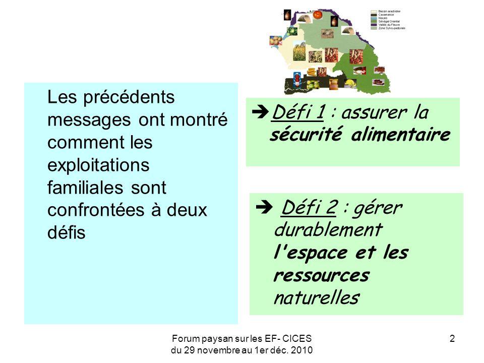 Forum paysan sur les EF- CICES du 29 novembre au 1er déc. 2010 2 Les précédents messages ont montré comment les exploitations familiales sont confront